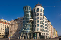 Dancing house landmark of Prague Czech republic. Blue sky background. Landscape orientation Royalty Free Stock Photography