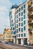 Dancing House - modern building designed by Vlado Milunic and Frank O. Gehry, Prague stock photos