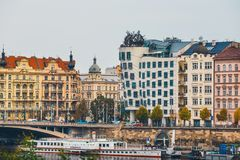 Dancing House - modern building designed by Vlado Milunic and Frank O. Gehry, Prague stock images