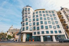 Dancing House - modern building designed by Vlado Milunic and Frank O. Gehry, Prague royalty free stock image