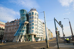 Dancing House in Prague, Czech Republic. The Dancing House or Fred and Ginger, is the nickname given to the Nationale-Nederlanden building on Rasin Embankment in Stock Image