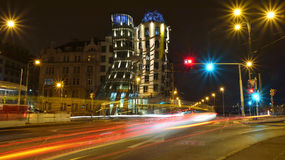 Dancing house in Prague by night Stock Images