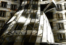 Dancing house. Sunlight reflection in Prague dancing house stock photo