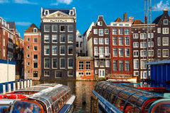 The dancing houses at Amsterdam canal Damrak, Holland, Netherlands. Stock Photography