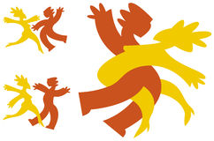 Dancing icons. Graphic icons in bright colors of a couple dancing Royalty Free Stock Images