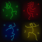 Dancing icons. Simple neon figures of dancing people Royalty Free Stock Photos