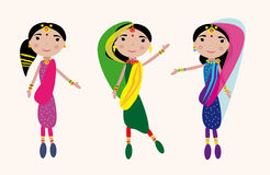 Dancing indian girls kit. Vector graphic card with nice cute indian girls dancing Royalty Free Stock Images