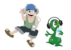 Dancing with ipod. A farmer boy and an alien dancing together while listening to their mp3 player on ipod Stock Photos