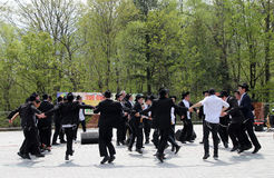 Dancing Jewish Students. Jewish religious students dancing  at the celebration of Lag Ba'Omer in May 18, 2014 in Toronto, Canada Royalty Free Stock Images