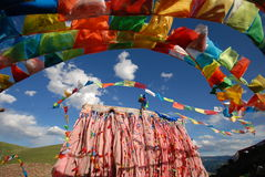 The dancing Jingfan. In Tibet there are many Jingfan, is a symbol of Tibetan religion Stock Image