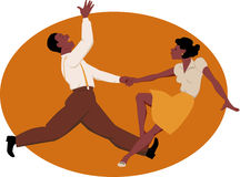 Dancing jitterbug. Black couple dancing jitterbug or rock and roll, vector illustration Stock Photo