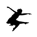 Dancing Jump Silhouette Stock Photography