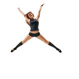 Dancing jumping girl Stock Photo