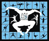 Dancing Jumping People Silhouettes Stock Images
