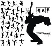 Dancing jumping running people silhouettes Royalty Free Stock Image