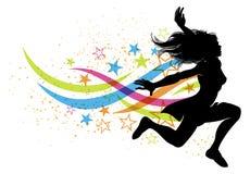Dancing jumping woman Stock Images