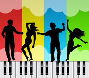 Dancing on the keys of a piano Royalty Free Stock Images