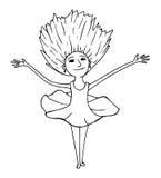 Dancing kid. Hand drawn dancing young girl stock illustration