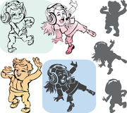 Dancing kids. Dancing children. Silhouette and contour design Royalty Free Stock Photo