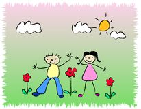 Dancing Kids / Children. Dancing boy and girl / kids illustration at a sunny day Stock Photography
