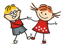 Dancing kids, vector icon, funny illustration. Happy kids, boy and girl. Dancing pair at dancing school. Vector icon, funny illustration. Colored drawing.n Stock Image