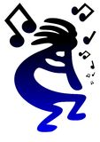 Dancing Kokopelli Vector. A vector image of Kokopelli and music notes Stock Photography