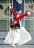 Dancing Korean woman with drum Stock Images