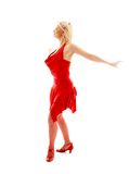 Dancing lady in red. Image of dancing lady in red dress over white Royalty Free Stock Photos