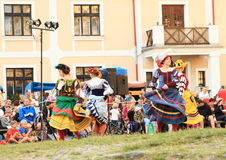 Dancing landsknecht women Stock Images