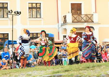 Dancing landsknecht women Royalty Free Stock Photo