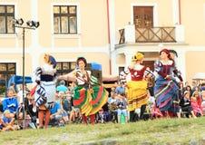 Dancing landsknecht women Royalty Free Stock Photo