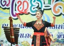 Dancing laos and thai in Festival Songkran border Thailand - Laos 2017 Royalty Free Stock Photo