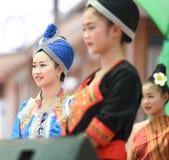 Dancing laos and thai in Festival Songkran border Thailand - Laos 2017 Royalty Free Stock Photos