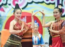 Dancing laos and thai in Festival Songkran border Thailand - Laos 2017 Stock Photo