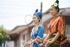 Dancing laos and thai in Festival Songkran border Thailand - Laos 2017 Stock Images