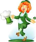 Dancing leprechaun with goblet of green beer Royalty Free Stock Photos