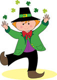 Dancing Leprechaun with Shamrocks. A Leprechaun dancing and tossing shamrocks over his head Royalty Free Stock Image