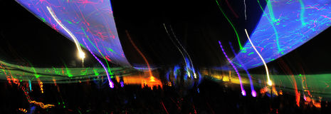 Dancing lights. And colored drapes Stock Photography