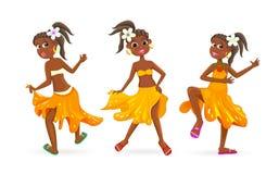 Dancing little African girls. Dancing little African girl. Little girl is dancing on a white background stock illustration