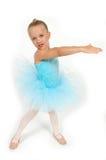Dancing Little Ballerina. Little toddler ballerina dancing in her blue tutu stock photography