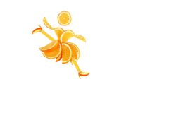 Dancing little woman made of the orange slices Stock Photos