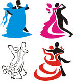 Dancing - logo and silhouette royalty free illustration