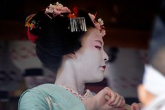 Maiko girl on dancing, Kyoto Japan. Royalty Free Stock Images