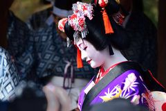 Maiko girl on dancing, Kyoto Japan. stock image