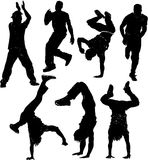 Dancing male silhouettes Royalty Free Stock Photography