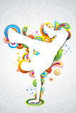 Dancing man. Illustration of dancing man on colorful music card on white background Stock Photography