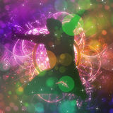 Dancing man background. Abstract glowing party background with 3d male dancer Stock Illustration