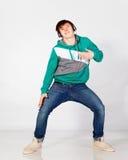 Dancing man in headphones Royalty Free Stock Photography