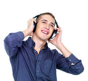 Dancing man with headphones looking up Stock Images
