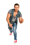Dancing man in jeans clothes Royalty Free Stock Image